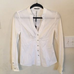 Elie tahari fitted white oxford shirt top NEW XS